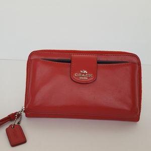 Coach Red Silver Wristlet Zip Around  Phone Wallet